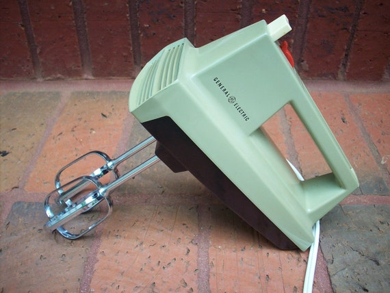 Vintage Electric Mixer Avocado Hand Mixer General Electric Green Mixer