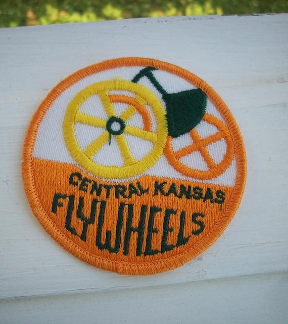 Vintage Patch Kansas Central Kansas Flywheels Iron On Patch
