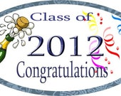 Graduation Stickers Personalized Labels Oval Favor tag For Class of 2012 Stickers Set of 21