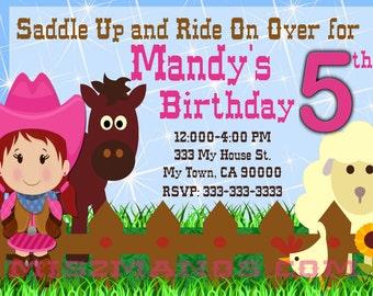 Western Birthday Invitation Cowgirl Western Birthday Party Invitations Printable