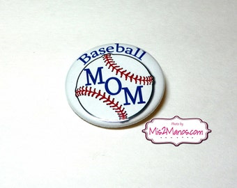 Baseball Mom pinback button badge Personalized Buttons