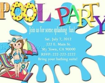 Pool Party Invitations  DIY Custom Printable Birthday Party Print at Home Invites
