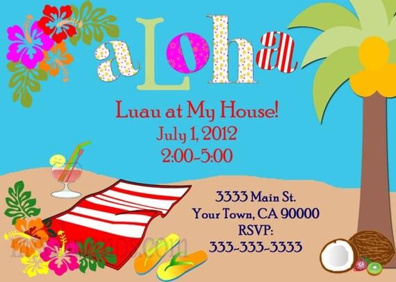 Luau Invitations DIY Custom Printable Aloha Party Print at Home Invites