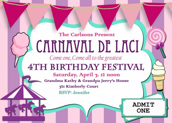 Carnival Birthday Party Invitation diy Printable Purple and Pink custom order Carousel Party