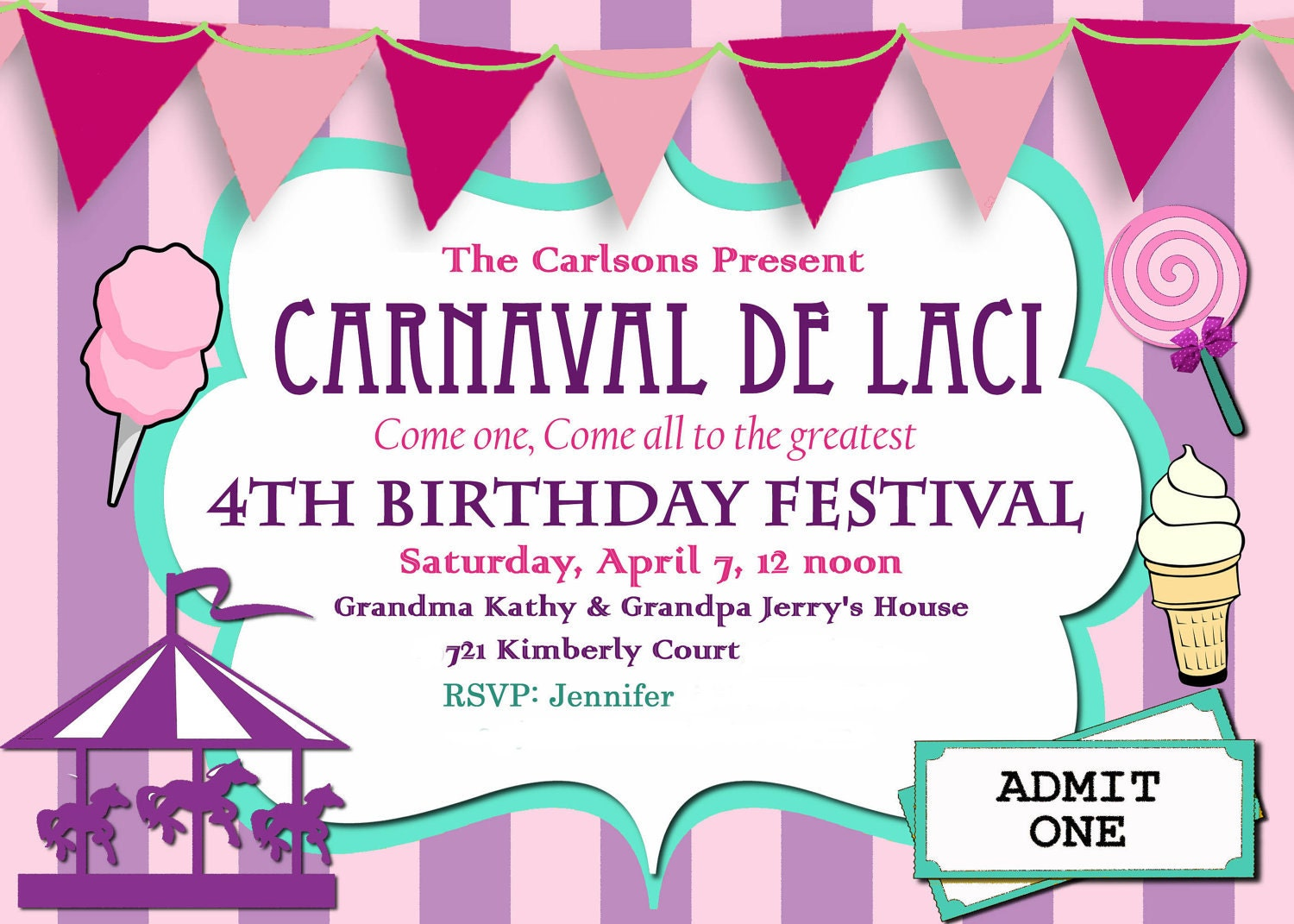 Carnival Birthday Party Invitation diy Printable Purple and – Carousel Party Invitations