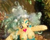 Mermaid Goddess Handmade 'Mini Me' Knitted Craft Doll (Ready to ship)