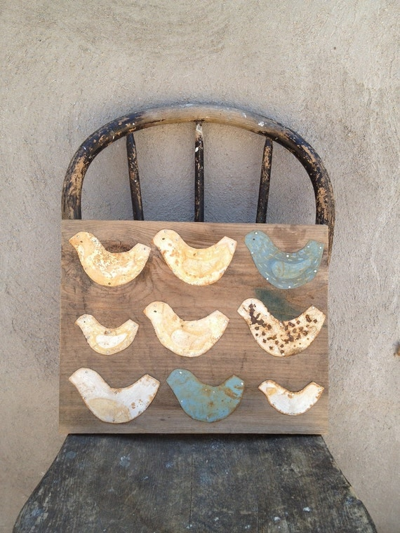 Tin Bird Wall Hanging on Reclaimed Wood Children Decor Blue and White Doves