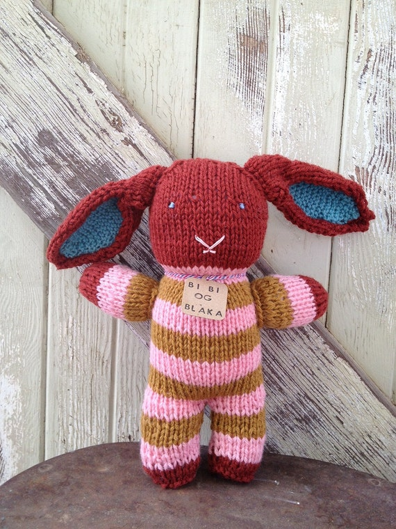 Brick Red Pink and Brown Striped Hand-Knit Bunny Rabbit Stuffed Animal