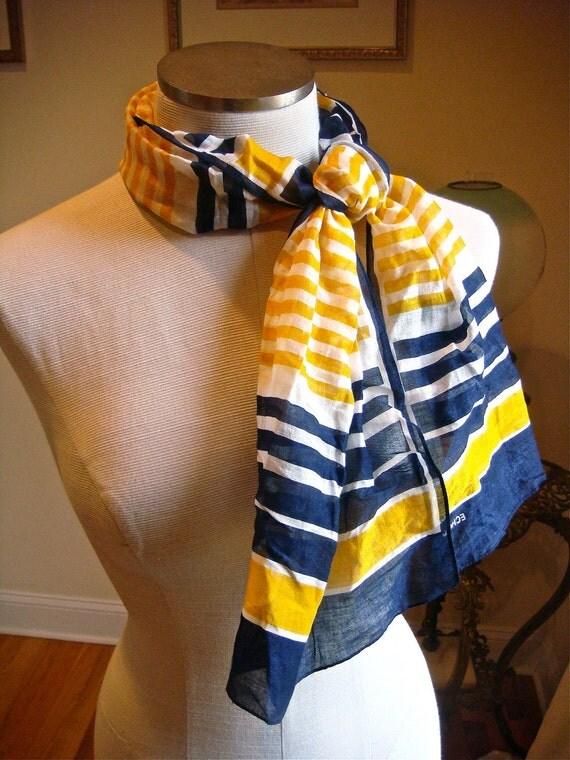 Nautical Cotton Scarf - 1980s - yellow white and indigo blue stripes - Echo brand