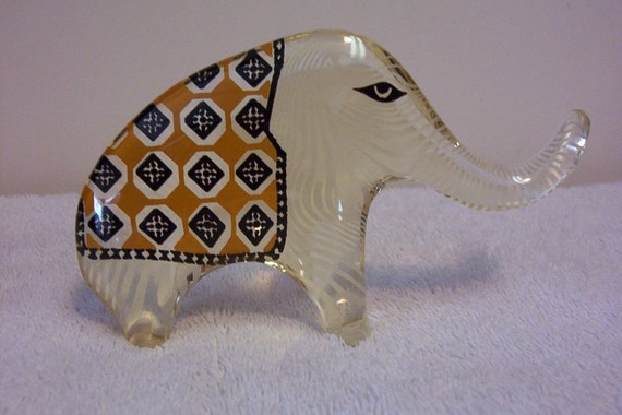 Abraham Palatnik Lucite Acrylic ELEPHANT Figurine Sculpture Rare Color Pattern 152