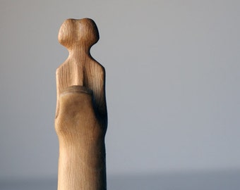 Duality II - ooak hand carved wood statue, modern wood sculpture