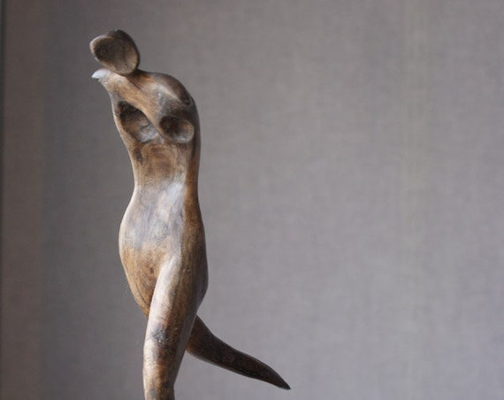 Running II - ooak hand carved wood statue, modern wood sculpture