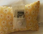 Yellow Cotton  Flowers Tooth Fairy Pillow with White Flower Button - With or Without Door Hanger Ribbon in Color of Your Choice