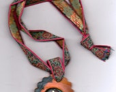 In the Eye of a Horse pendant with vintage tapestry trim necklace, hand painted, pendants