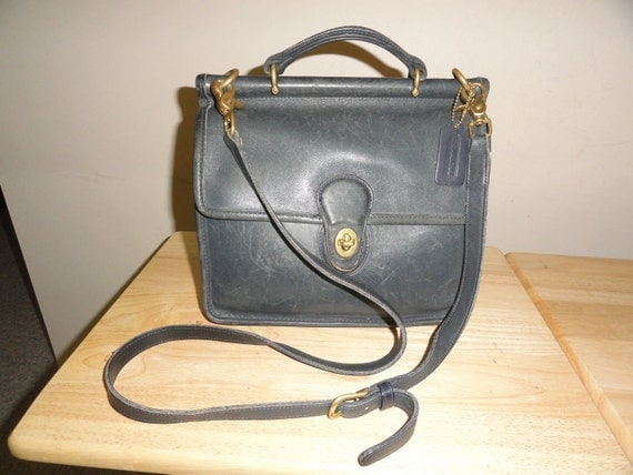 Reserved For Asami-Vintage Blue Leather COACH WILLIS No. 9927 Crossbody Messenger Bag Made In U.S