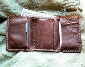 Mens Trifold Leather Wallet, hand sewn