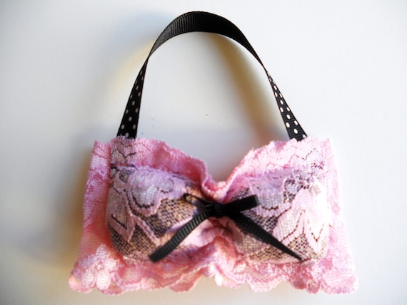 Pink Lace Bra Sachet with Black Polka Dot Ribbon