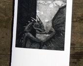 Blank Dragon Card Black and White Etching 5x7 Ketch by the Sea dragon etching fantasy art