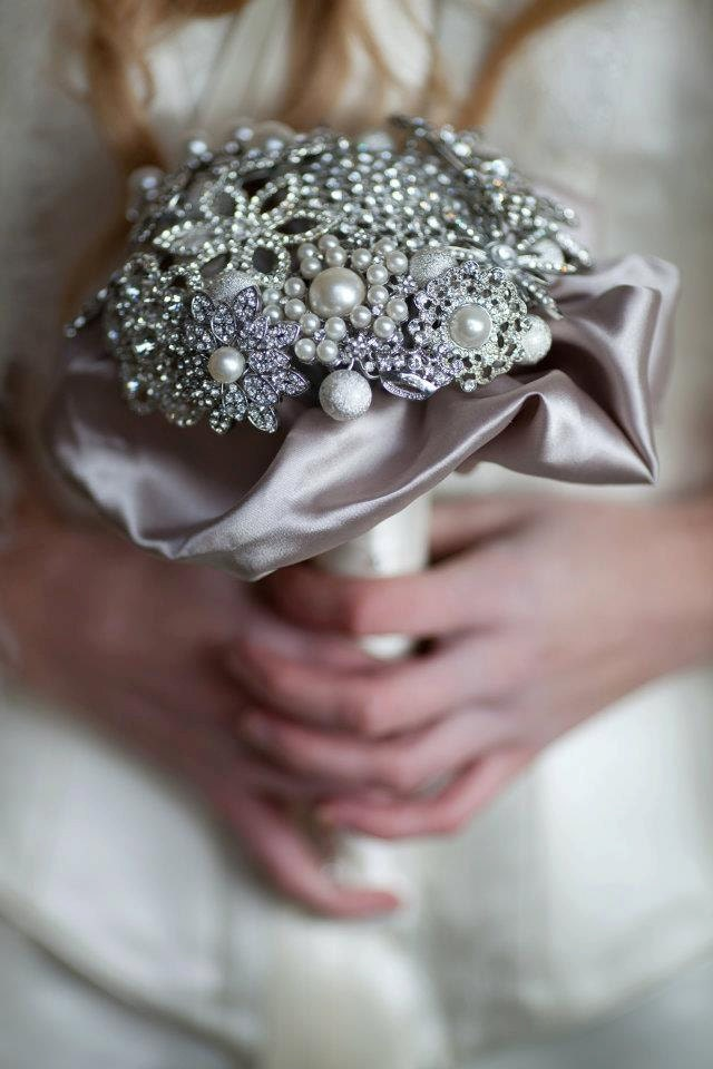 Bridal Flowers With Bling : Brooch wedding bouquet silver bling