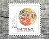 Modern Vintage Postage Magnet - Save the Date Magnets - Custom save the date stamp shaped magnets