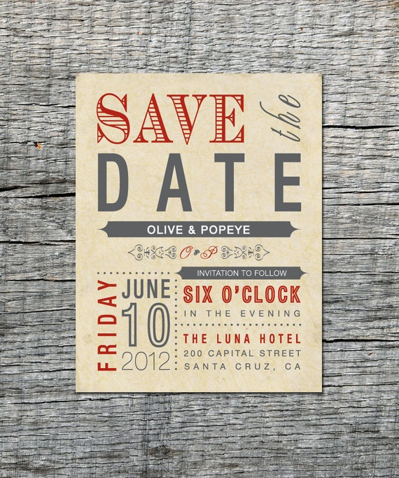 Old Fashioned Vintage - Save the Date Magnets or card - Custom save the date magnets