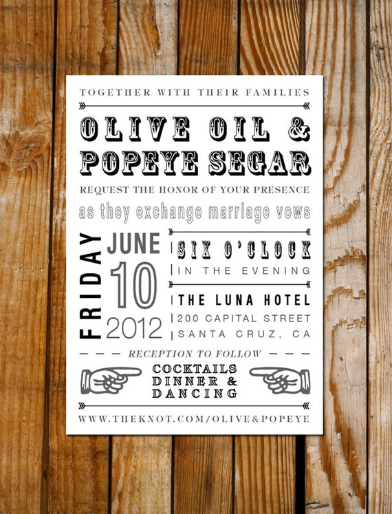 Rustic Inspired Wedding Invitation Card - Typography with Old Fashioned Graphics - DIY Printable