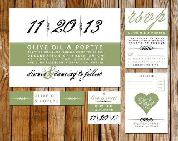 Modern Wedding Invitation Card, RSVP, Hang Tag, & Belly Band Set - 4 Piece Set - DIY Printable