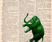 elephant Antics vintage art large 7.5 X 10 Print