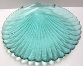 Scallop-design Snack Plates - 8 inch - Aquamarine - set of 6