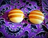 mod woodwork clip-on earrings