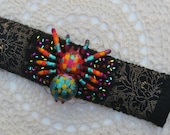 Spider Bracelet Cuff, Colorful, Artistic, Quirky, Insect, Bug, Boho, Bohemian, Folk, Hippy, Gypsy