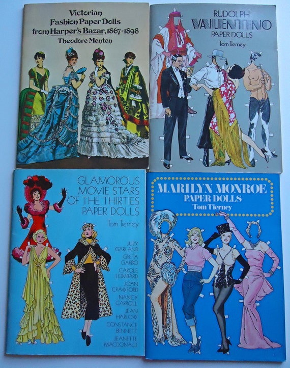 4 Fashion Paper Doll Books Movie Stars Victorian Fashion Rudolph Valentino Marilyn Monroe Paperdolls olivemlouDIY