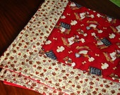 Dog Blanket Cute and Cozy Washable Cotton and Flannel - READY TO SHIP