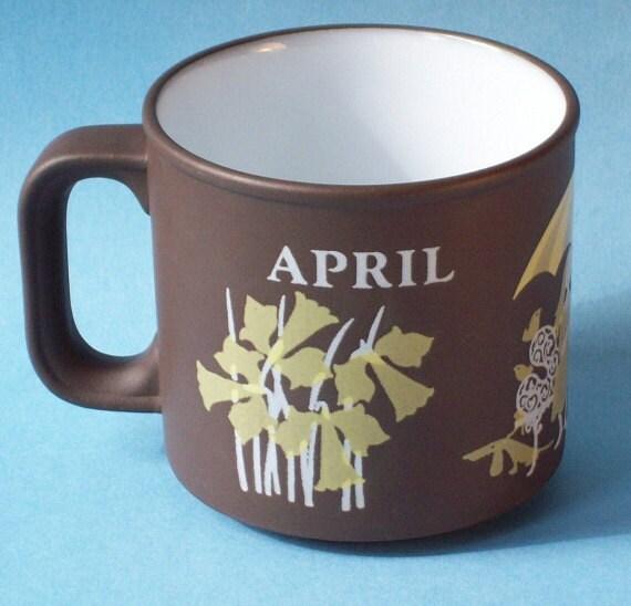 Vintage Hornsea April Love Mug 1978 Kenneth Townsend design
