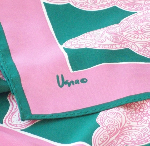 Vintage Vera Neumann Rectangular Scarf in Pink Green and White 1980s