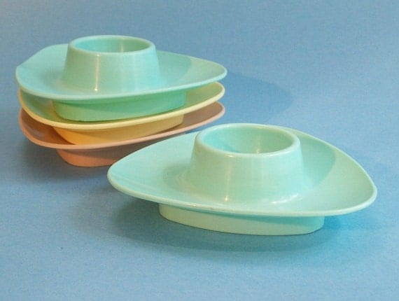 Vintage Melamine or Plastic Egg Cups Turquoise Yellow Tan 1950s or 1960s
