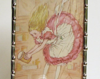 Alice in Wonderland Night Light - Nightlight with Storybook Illustration - Girls Night Light - Kids Night Light - Pink N58