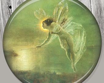 Fairy Pocket Mirror, Photo Mirror, Compact Mirror of Antique Fairy Illustration Image A55