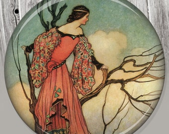 Fairy Pocket Mirror, Photo Mirror, Compact Mirror of Warwick Goble's Antique Illustration Image A77