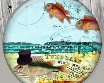 Gold Fish Pocket Mirror, Photo Mirror, Compact Mirror of Steampunk Illustration Image A62
