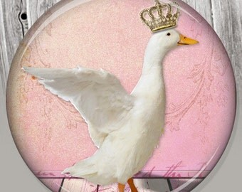 Shabby Chic, Crown Duck Pocket Mirror, Photo Mirror, Compact Mirror Illustration Image A44