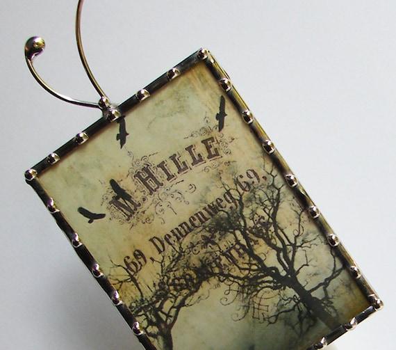 Raven Night Light, Nightlight Birds Crows Tree Vintage French N32