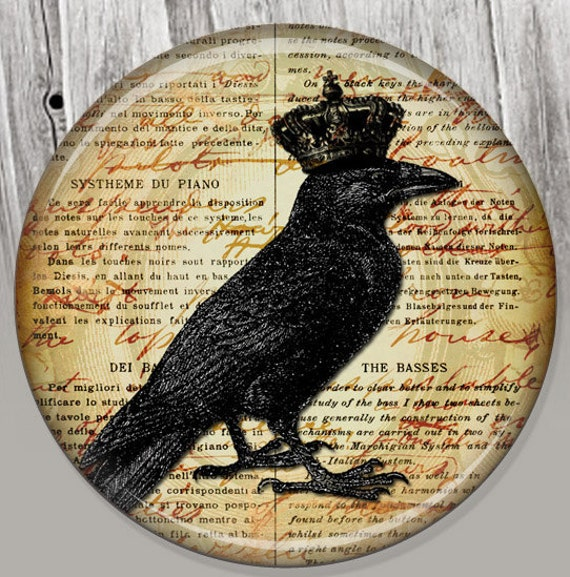 Crown Raven Pocket Mirror, Photo Mirror, Compact Mirror Goth Illustration Image A21