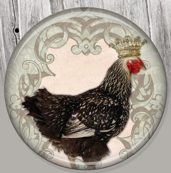 Shabby Chic Chicken, Pocket Mirror, Photo Mirror, Compact Mirror Illustration Image A02