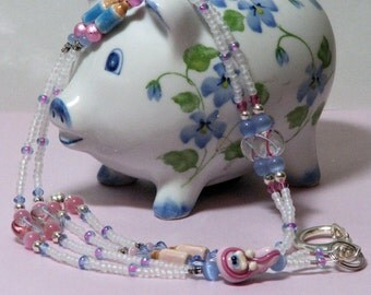 O O A K - Ceramic & Glass Beaded Lanyard ID Badge Holder (with magnetic clasp) - Baby GIRL - Blue and Pink Ribbon - SIDS Awareness - AW103