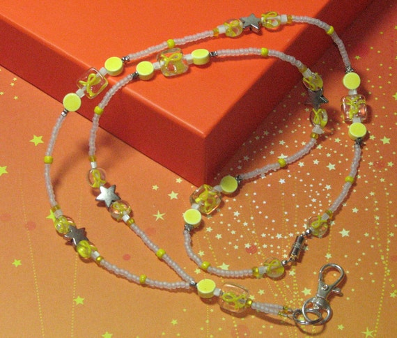 O O A K - Glass Beaded Lanyard ID Badge Holder (with magnetic clasp) - YELLOW RIBBON - Troop Support - Childrens Cancer Awareness - AW119