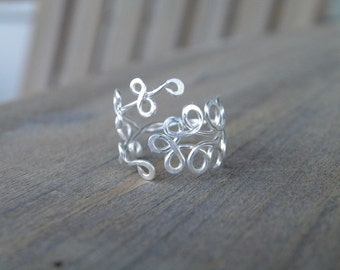 "Toe ring... ""Fern Gully"" silver wire wrapped toe ring."
