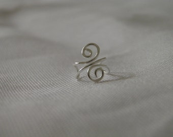 "Ear cuff... ""Swirls"" Hand wire wrapped silver ear cuff."