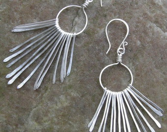 "Earrings...""Silver Paths"" hammered silver chandelier earrings."
