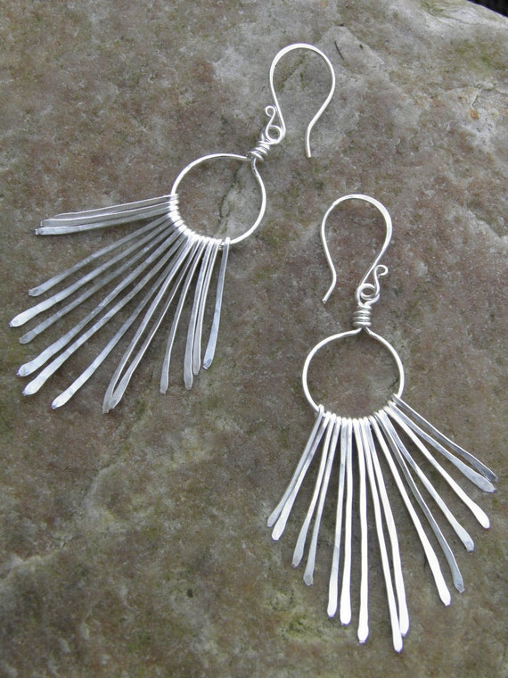 "Earrings...""Silver Paths"" hammered silver chandelier earrings."